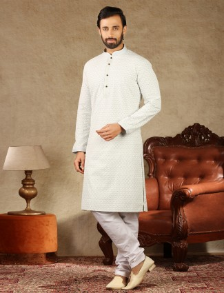 Lakhnavi thread work pista green cotton kurta suit for mens