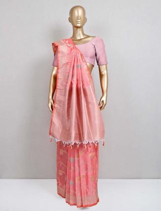 Lates peach saree design in semi banarasi silk
