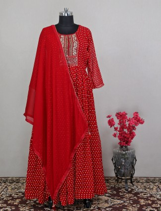 Latest amazing red anarkali suit for wedding wear