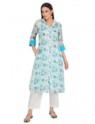 Latest aqua cotton festive sessions punjabi style printed pant suit