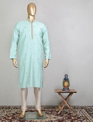 Latest aqua raw silk kurta suit