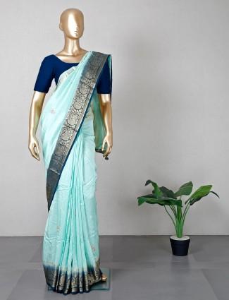 Latest aqua silk saree for wedding functions