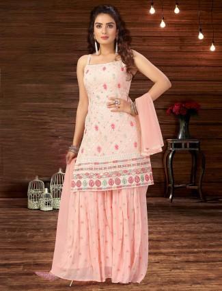 Latest baby pink designer georgette wedding sharara suit