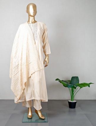Latest beige cotton salwar kameez for party