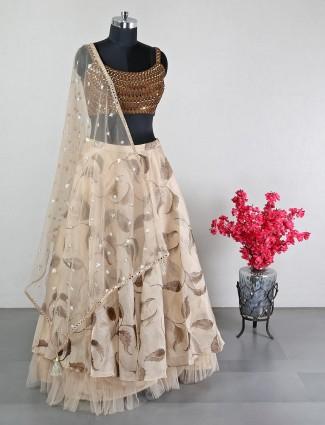 Latest beige silk lehenga choli for weddings