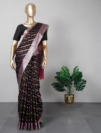 Latest black banarasi cotton silk festive saree