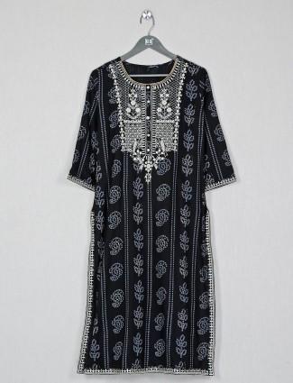Latest black cotton casual wear kurti