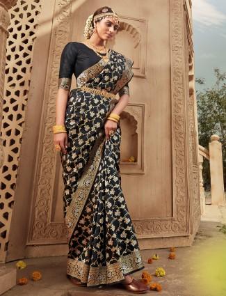 Latest black designer wedding wear saree in banarasi silk