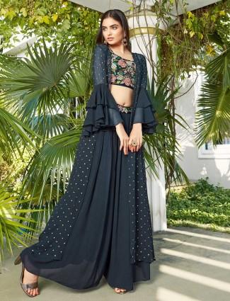 Latest black jacket style palazzo suit for wedding