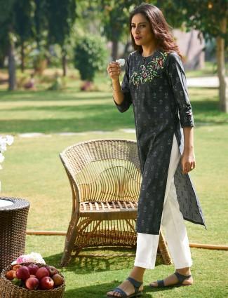 Latest black printed cotton casual wear kurti