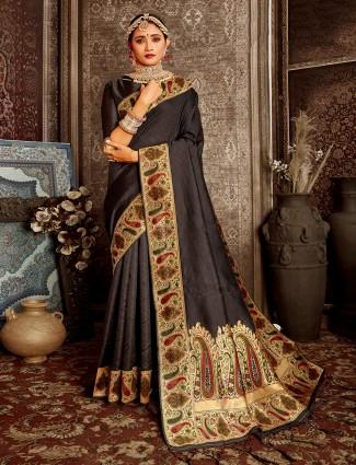 Latest black zari weaving saree for festive