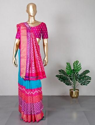Latest blue and pink patola silk