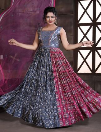 Latest blue bandhej silk floor length anarkali suit for women