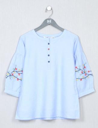 Latest blue cotton casual t-shirt