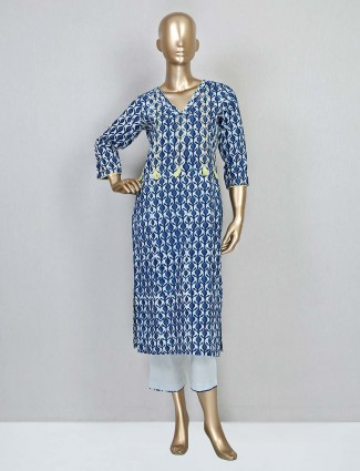 Latest blue cotton casual wear palazzo suit