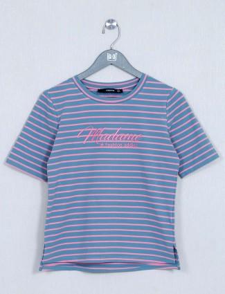Latest blue cotton casual wear t-shirt