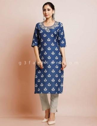 Latest blue cotton festive wear kurti