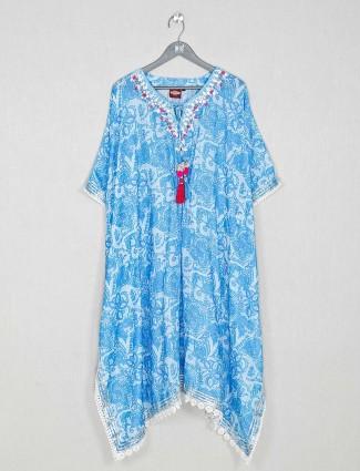 Latest blue cotton casual wear kurti