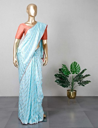 Latest blue cotton silk zari work wedding saree