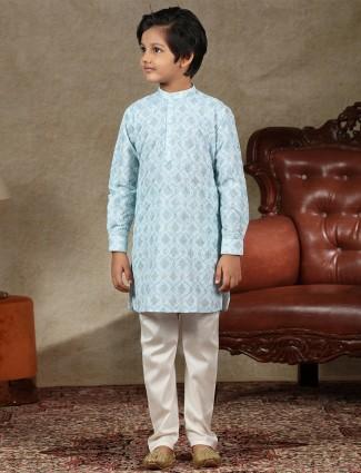 Latest blue full sleeves cotton kurta suit