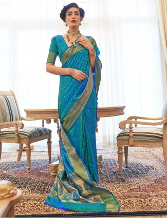 Latest blue kanjeevaram silk for reception session