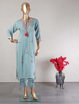 Latest blue pant style salwar suit