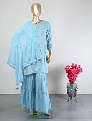Latest blue wedding wear sharara suit