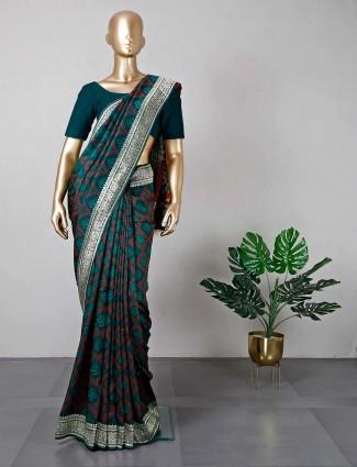 Latest bottle green cotton silk saree