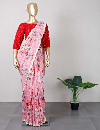 Latest pink tissue silk saree for wedding function