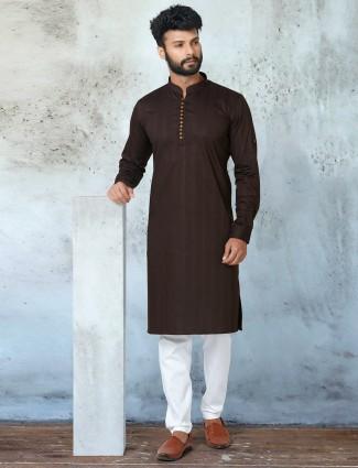 Latest coffee shade festive wear kurta with churidar