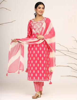 Latest coral pink cotton festive occasions punjabi style printed pant suit