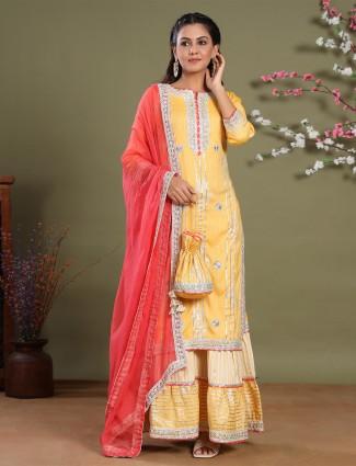 Latest corn yellow cotton festive occasions punjabi style sharara set