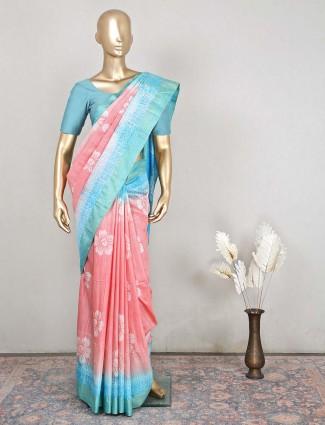 Latest cotton festive wear saree in pink