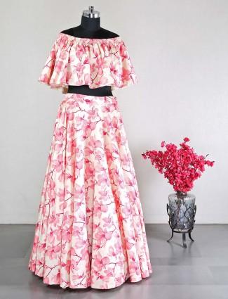 Latest cotton silk printed wedding wear pink lehenga choli