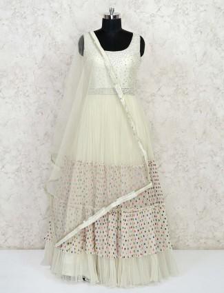 Latest cream anarkali salwar suit for party