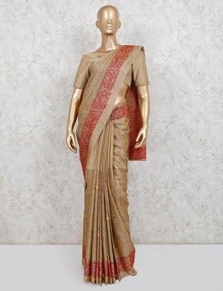 Latest cream handloom cotton wedding saree