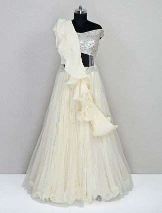 Latest cream net wedding wear lehenga choli