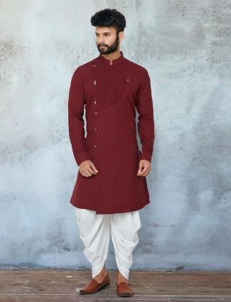 Latest dark maroon shade dhoti with kurta