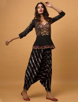 Latest designer black wedding wear dhoti style salwar suit