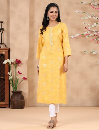 Latest designer bright yellow printed cotton casual wear kurti
