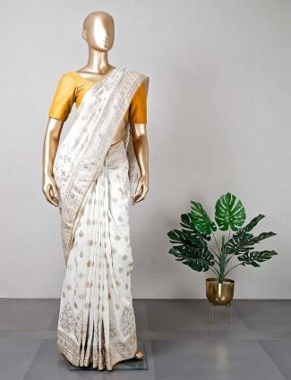Latest designer cream silk wedding wear saree