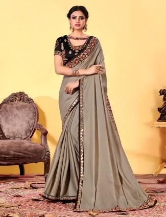 Latest designer dola silk party wear saree in grey