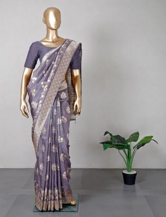Latest designer grey silk wedding wear saree