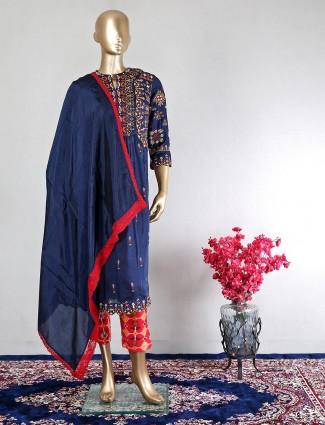 Latest designer navy cotton wedding wear salwar kameez