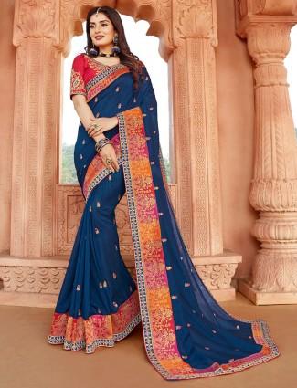 Latest designer navy silk saree for festive events
