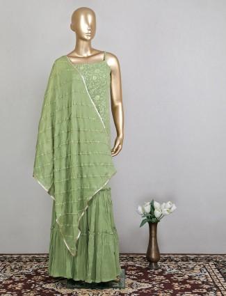 Latest designer olive green salwar kameez for women