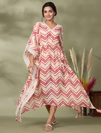 Latest designer peach zig zag kaftan style cotton casual wear kurti