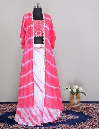 Latest designer pink lehenga style salwar suit for wedding