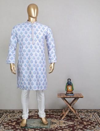 Latest designer printed blue cotton festive wear kurta