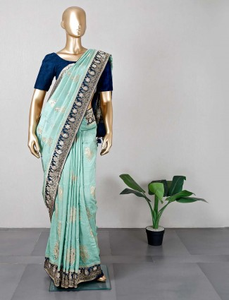 Latest designer sea green silk wedding wear saree